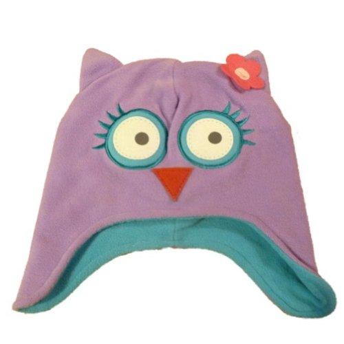 Faded Glory Toddler Girls Purple Fleece Owl Trapper Hat - Owl Fleece Hat