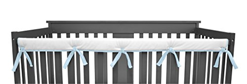 """Price comparison product image American Baby Company 1 Pack Heavenly Soft Narrow Reversible Crib Rail Cover for Long Rail,  Blue / White,  for Rails Measuring up to 4"""" Folded"""