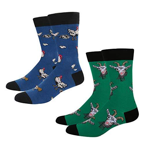 Men's Novelty Fun Crazy Farm Animal Crew Socks, 2 Pack Funny Goat Hen Socks