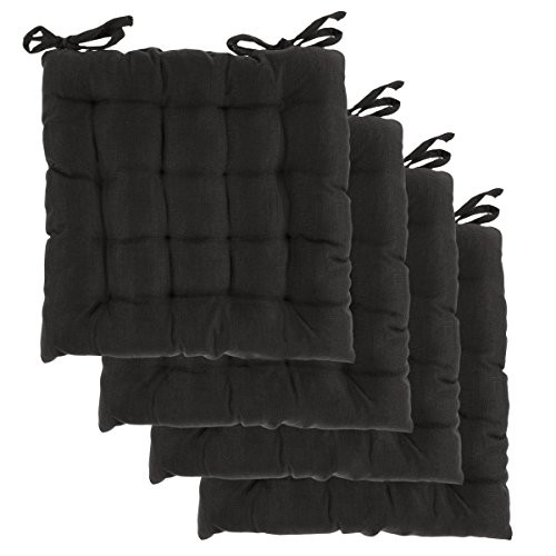 DreamHome (Set of 4) Indoor Chair Pads with Ties, 14 inches Square Tufted Cushion, Seat Cushion, Cushions with Ties - Apple Chair Pad
