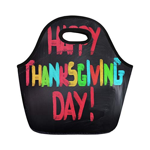 Semtomn Lunch Tote Bag Turkey Thanksgiving Day Abundance Adorable American Apple Autumn Bird Reusable Neoprene Insulated Thermal Outdoor Picnic Lunchbox for Men Women ()