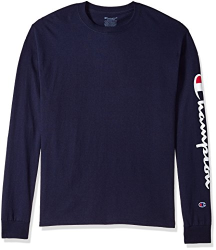 Champion Men's Classic Jersey Long Sleeve Graphic T-Shirt, Navy/Blue, Large