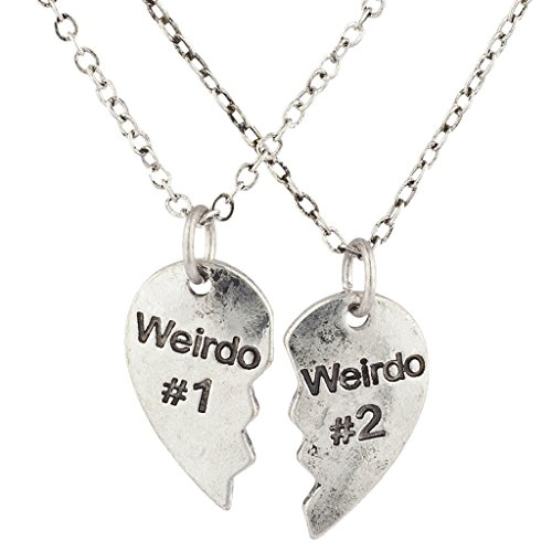 Lux Accessories Silver Weirdo 1 & 2 BFF Best Friends Heart Charm Necklaces (2pc)