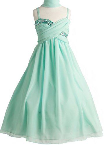 Big Girls' Crystal Ruched Chiffon Gown Pageant Wedding Party Flower Girl Dress Mint 14 (J35K56)