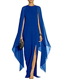 Women Elegant Slit Cape Long Maxi Chiffon Party Dress