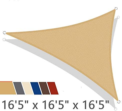 iCOVER Sun Shade Sail 16 5 x 16 5 x 16 5 Triangle Canopy, 185GSM Fabric Permeable Pergolas Top Cover, for Outdoor Patio Lawn Garden Backyard Awning, Sand