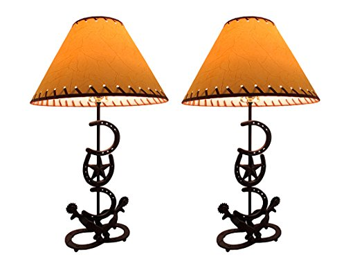 (Horseshoes and Spurs Western Style Lamp with Leather Look Shade Set of 2)