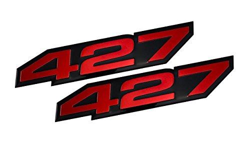 2x (pair/set) VMS Racing 427 RED on BLACK Highly Polished Aluminum EMBLEMS (427 Emblem)