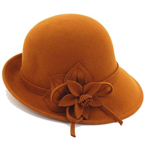 - Young_Me Women's Floral Trimmed Wool Blend Cloche Winter Hat (Model B - Orange)