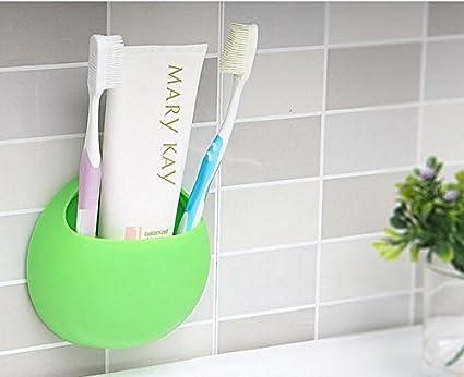 ruesious Creative soporte montado en la pared cepillo de dientes con ventosa, sin BPA,