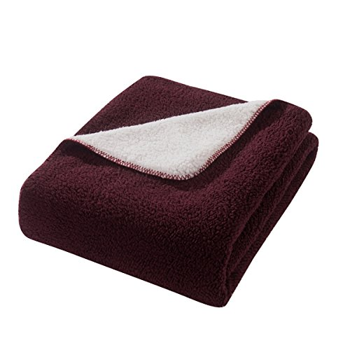 HYSEAS Sherpa Throw Blanket Burgundy and White - Super Soft Plush Cozy Warm Reversible Solid Blanket for Couch, Bed, Chair, Sofa - 50x60 Inch