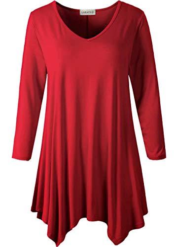 LARACE Plus Size Women Tunic Tops 3/4 Sleeve Shirt for Legging (Wine Red, 2X)