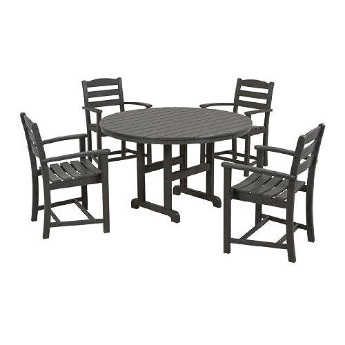 POLYWOOD PWS132 1 GY La Casa Café 5 Piece Dining Set, Slate Grey