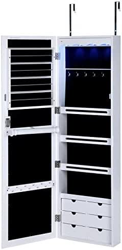 SONGMICS Lockable Jewelry Cabinet Wall Door Mounted Jewelry Armoire W/ LED Light Real Glass Mirror White