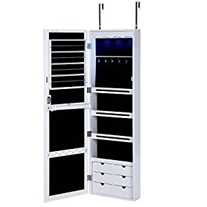 songmics lockable jewelry cabinet wall door