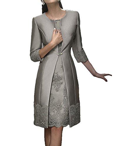 der Applikationen Jacke formale mit Braut Silber kurze HWAN Kleider Satin Kleid Mutter wqXXvE