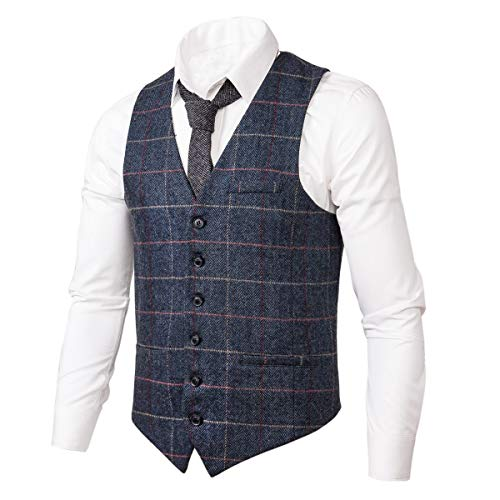 VOBOOM Men's Slim Fit Herringbone Tweed Suits Vest Premium Wool Blend Waistcoat (Style2- Plaid Navy, XL)