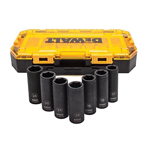 DEWALT DWMT74737 Tough Box 7PC Metric 1/2 Deep Drive Impact Socket (Metric Hand Socket Set)