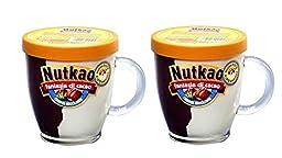 Nutkao Fantasia Di Cacao Half Hazelnut and Half Milk Duo Spread - Reusable Glass Mug with handle.- 10.58 oz- 2 Jars