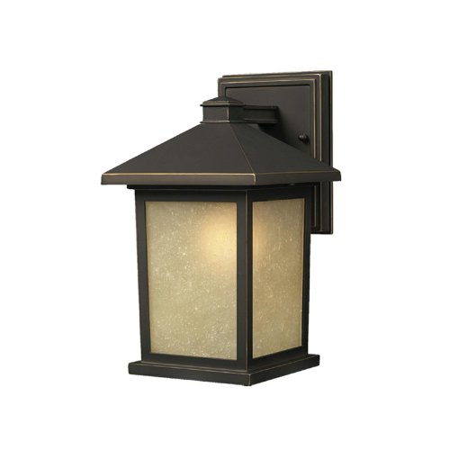 Z-Lite 507S-ORB Holbrook Outdoor Wall Light, Metal Frame, Oil Rubbed Bronze Finish and Tinted Seedy Shade of Glass - Waterloo Glasses