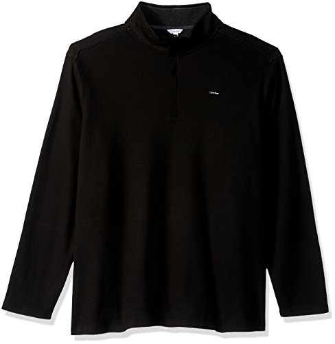 Calvin Klein Mens Big And Tall Long Sleeve 1 4 Zip Solid Jacquard Knit Shirt  Black  3X Large T