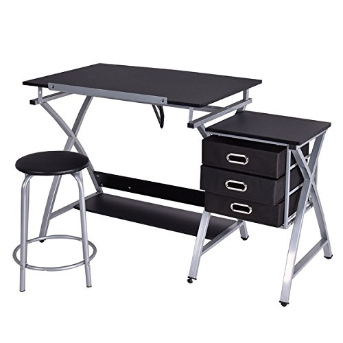 Costway Drafting Table Art & Craft Drawing Desk Art Hobby Folding Adjustable w/ Stool by COSTWAY