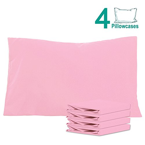 Pink Pillowcase (NTBAY 100% Brushed Microfiber Pillowcases Set of 4, Soft and Cozy, Wrinkle, Fade, Stain Resistant, 20