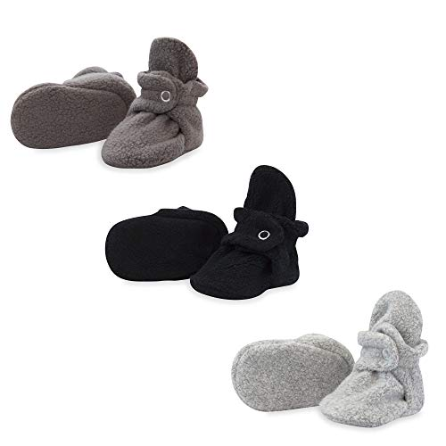 Zutano Booties - Zutano 3 Pack Fleece Baby Bootie Gift Set, Black/Gray/Heather Gray, 3M