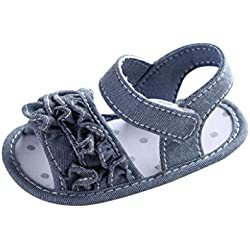 Tenworld Baby Infant Girls Prewalker Shoes, Summer Soft Sole Anti Slip Sandals (11cm, Gray)
