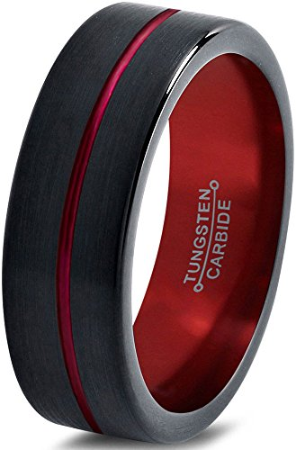 Tungsten Wedding Band Ring 4mm for Men Women Black Red Center Line Flat Pipe Cut Brushed Polished Lifetime Guarantee
