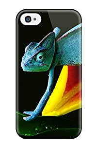 Awesome Chameleon In Blue Flip Case With Fashion Design For Iphone 4/4s