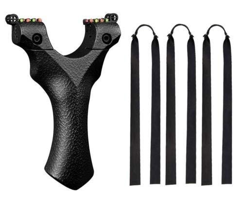 Obert Flat Band Slingshot Hunting Catapult with 3pcs Black Flat Rubber Bands 10 Aiming Point Outdoor Game Shot Adult Toy