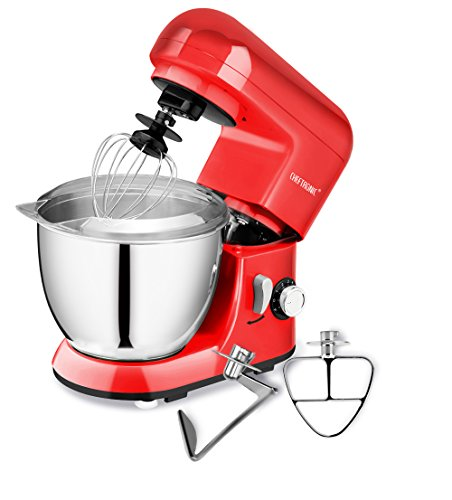 Cook Flat Whisk - CHEFTRONIC Stand Mixer SM-985, 350W 6 Speeds Tilt-head Compact Kitchen Electric Mixer 4.2 Quart Stainless Steel Bowl with Pouring Shield for Mother's Day, Xmas, Wedding, Thanksgiving, Birthday Gift