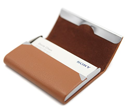 Leather Accessory Business Card - RFID Blocking Card Holder - Leather Card Case and Front Pocket Wallet with Magnetic Shut - Light Coffee