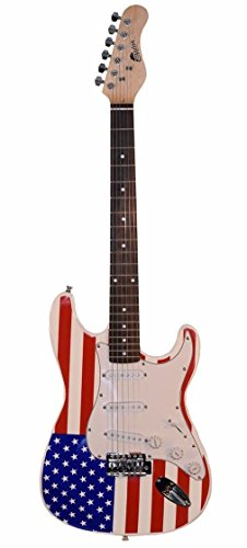 Raptor 39″ Full Size Solid Body INDEPENDENCE USA FLAG ST309D-RWB Electric Guitar – Red White Blue