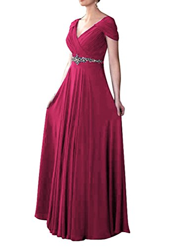 [WeiYin Women's Cap Sleeve V-neck Ruched Empire Line Evening Dress Mother of the Bride Dresses Fuchsia US] (Plus Size Formal Dresses)