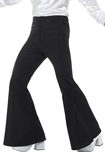 Mens Black 1960s 1970s Hippie Hippy Woodstock Peace Love Kick Flares Pants Fancy Dress Costume Outfit Trousers (Black, Medium)