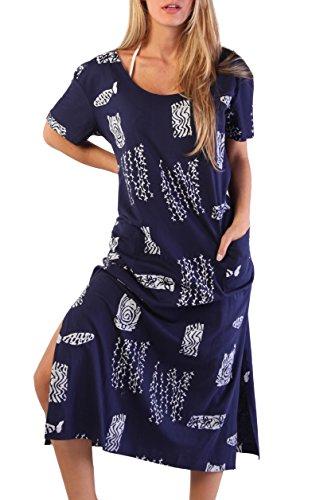 Women's Summer Long Shift Dress Beach Cover up Tee Dress (Navy, (Long Shift Dress)