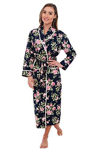 Alexander Del Rossa Womens Cotton Robe, Lightweight Woven Bathrobe, 3XL Floral Roses Flowers On Deep Navy Blue (A0515Q123X)