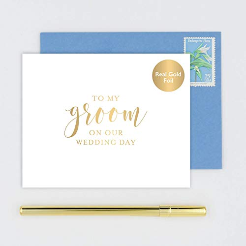 To My Groom on Our Wedding Day Card for Husband, Handmade White Card Stamped with Gold Foil - Calligraphy Design with Blue Envelope