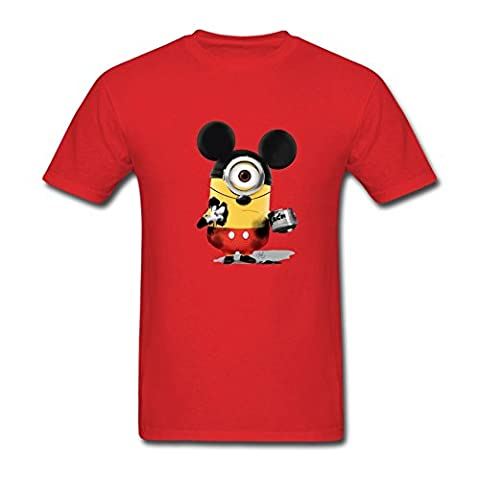 Timwood Men's Minions Mickey Mouse Short Sleeve T-Shirt XXX-Large Red (Of Mice And Men Robert Blake)