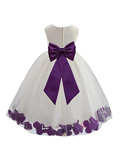 Wedding Pageant Flower Petals Girl Ivory Dress with Bow Tie Sash 302a 2 ()