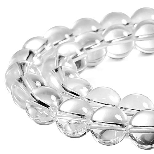 JARTC 7A Natural White Clear Quartz Round Beads Gemstone Beads for DIY Necklace Bracelat Jewelry Making Strand 15