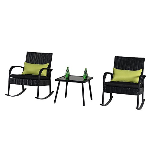 Cloud Mountain Outdoor 3 Piece Rocking Chair Set Wicker Rattan (Large Image)