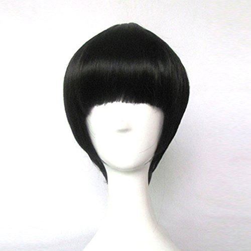 NARUTO Rock Lee Black Short Cosplay Costume Wig + Free Wig Cap