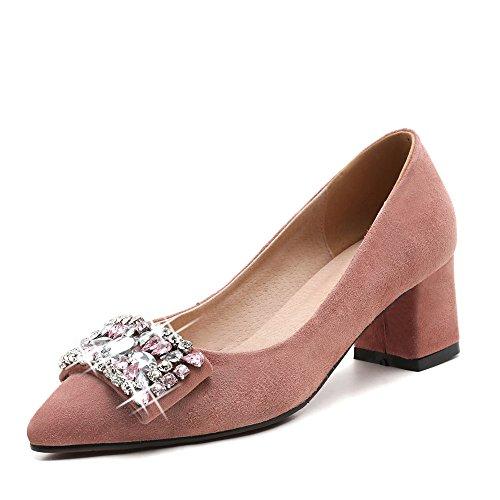 Nine Seven Cuero Moda Puntiagudos Tacones de Grueso con Diamantes de Imitacion de Vestir para Mujer Rosa