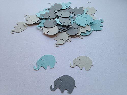 Elephant Baby Shower, 100 Elephant Confetti, Blue Gray Dark Gray Elephant, Elephant Cut Out, Elephant Theme, Elephant Birthday, Elephant Die Cut