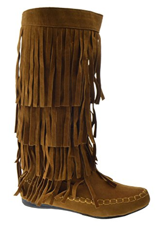 Mudd 55 Womens 4 Layer Fringe Moccasin Mid-Calf Boots Rust - Boot Indian Fringe