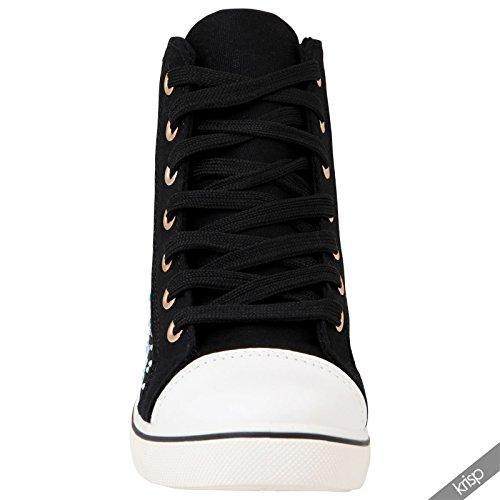 Primavera Tela Flores Bambas Verano Zapatos Negro Zapatillas KRISP 16294 Playeras Deporte Tenis 7UxA84