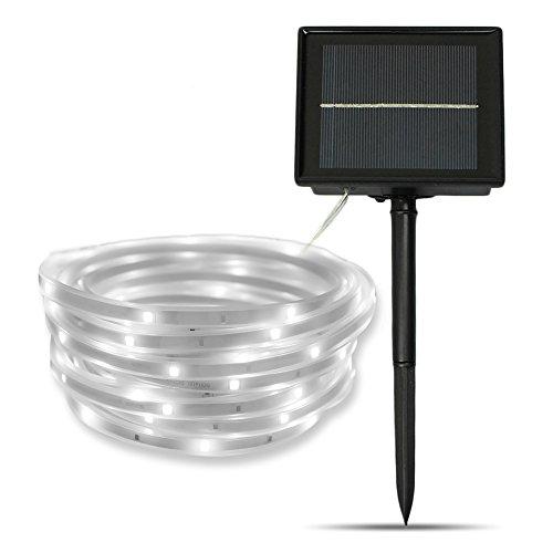 szminiled Solar Strip Lights White 16.4 Feet 100 LED Solar String Lights Waterproof IP 67 Indoor Outdoor Lamp For Garden Landscape Yard Wall Door Gate (Optical Gel)